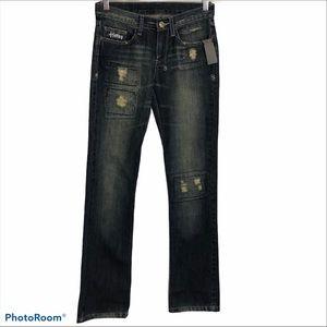 Ksubi medium wash blue jeans straight, distressed